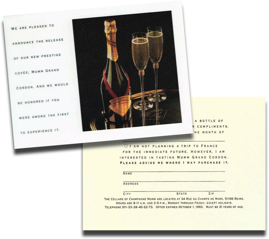 Tongue-in-cheek reply card offers recipients a free bottle and asks when they can be expected to claim it at the winery . . . in France.
