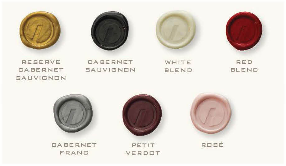 Wax seals are color-coded by varietal. Natch.