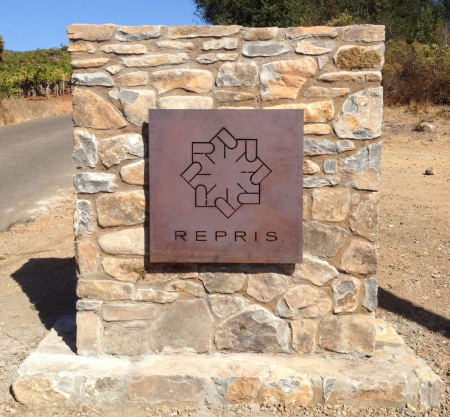 "We thought the signage ought to pay tribute to Repris' natural beauty so we took as inspiration the kind of structures you might find at a national park. We used weathered Cor-ten steel to echo the winery's signature ""brown."""